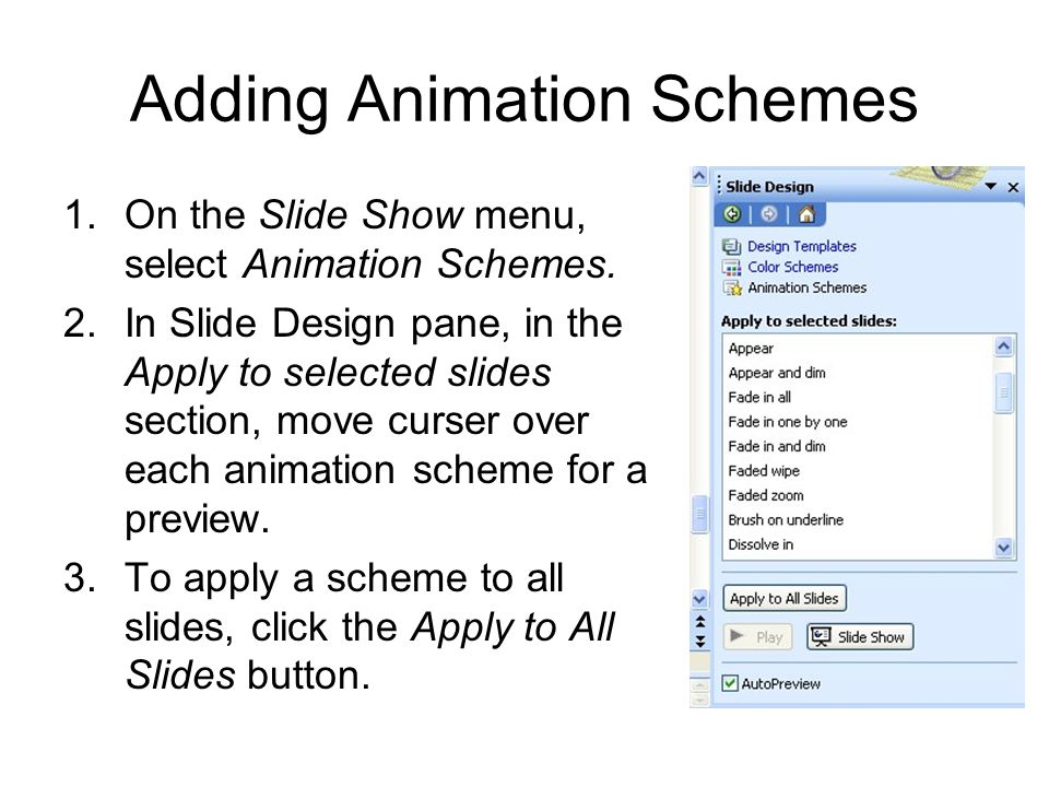 Adding Animation Schemes