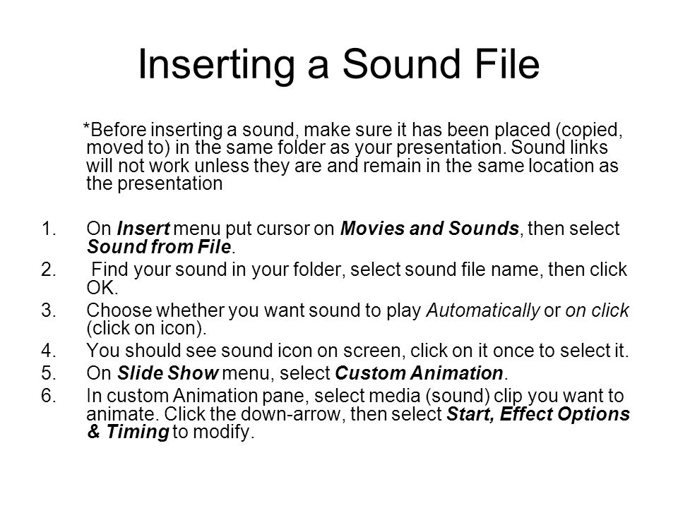 Inserting a Sound File