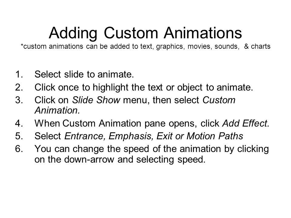 Adding Custom Animations