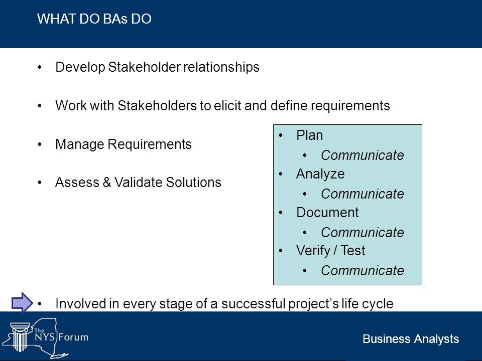 Develop Stakeholder relationships