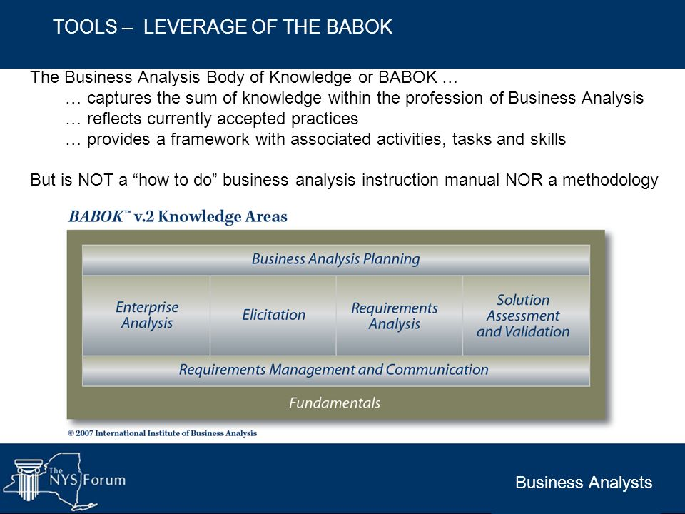 TOOLS – LEVERAGE OF THE BABOK