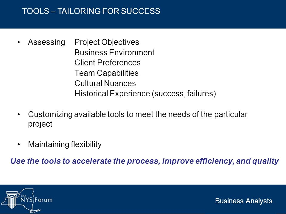 TOOLS – TAILORING FOR SUCCESS