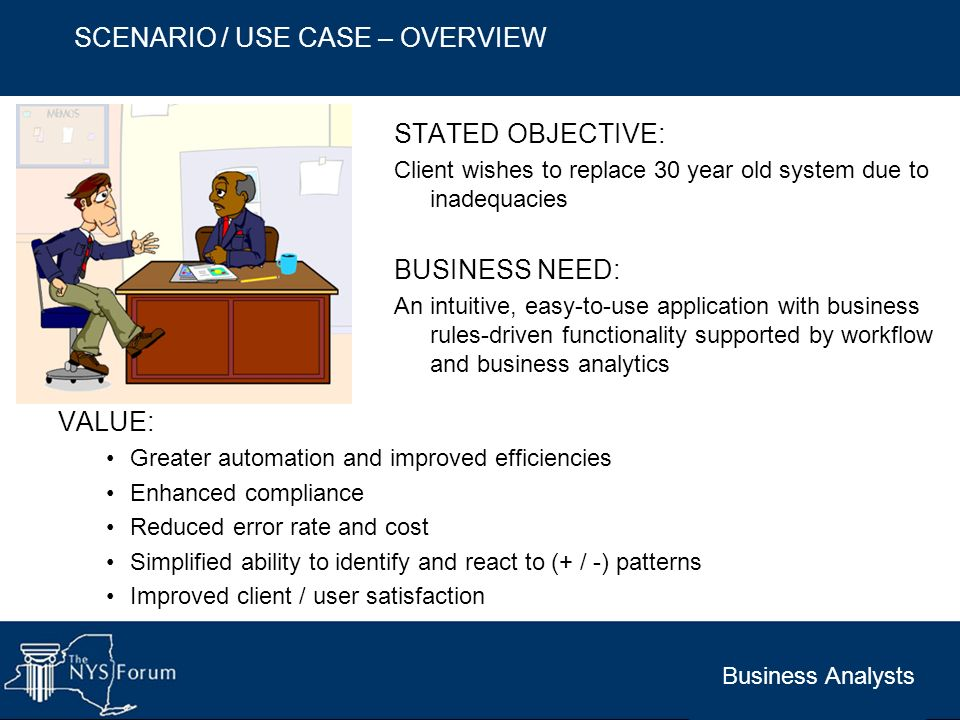 SCENARIO / USE CASE – OVERVIEW