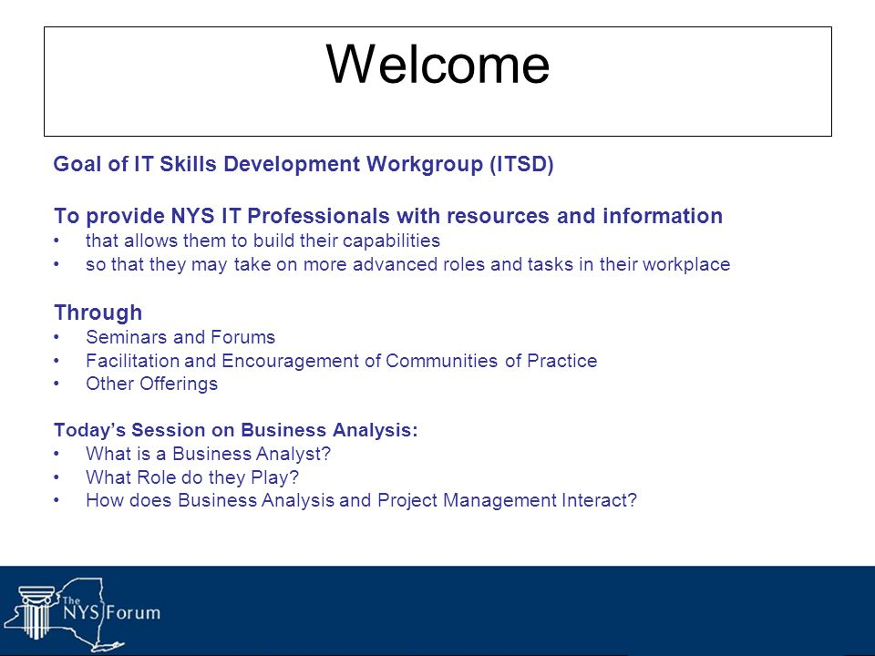 Welcome Goal of IT Skills Development Workgroup (ITSD)