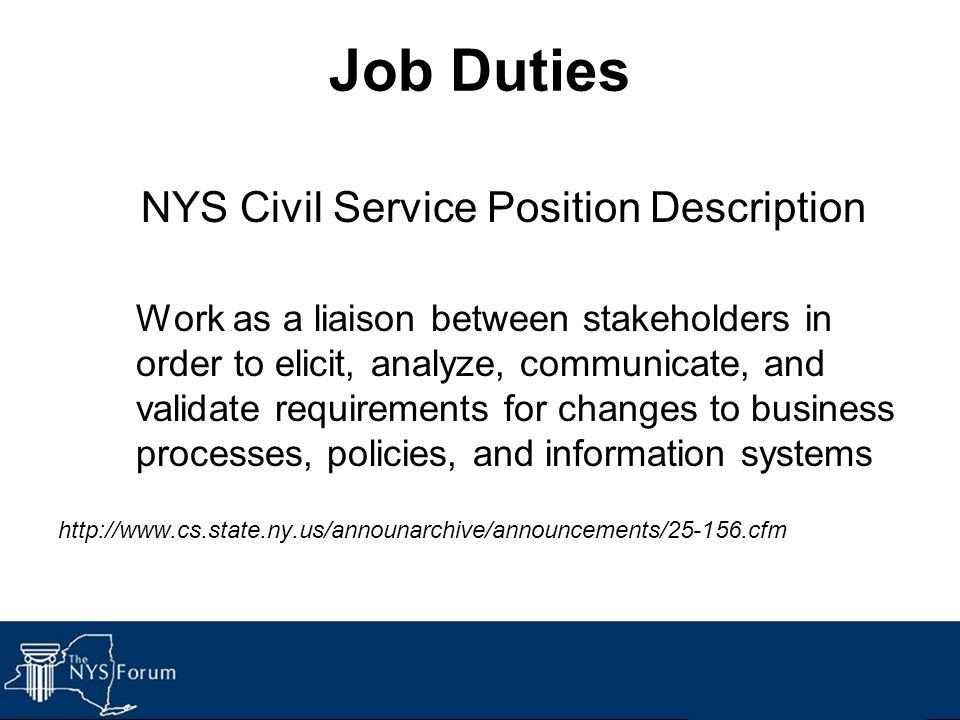 NYS Civil Service Position Description