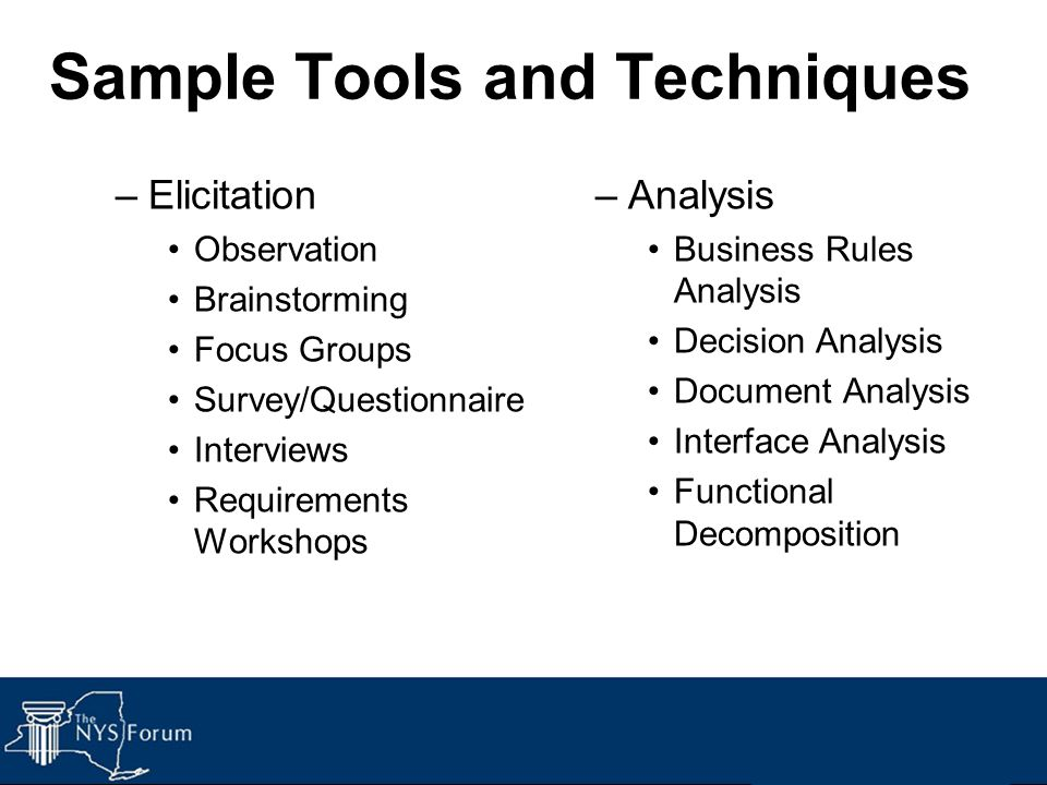 Sample Tools and Techniques