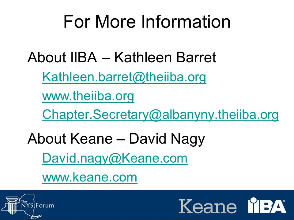 For More Information About IIBA – Kathleen Barret