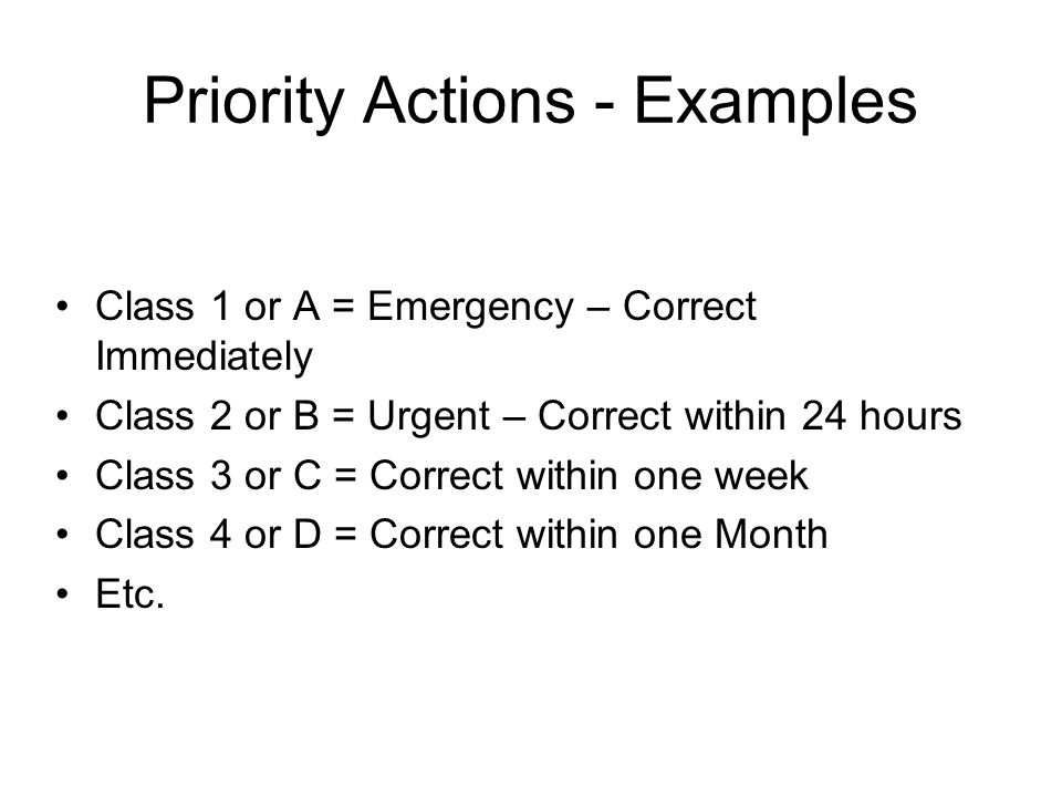 Priority Actions - Examples