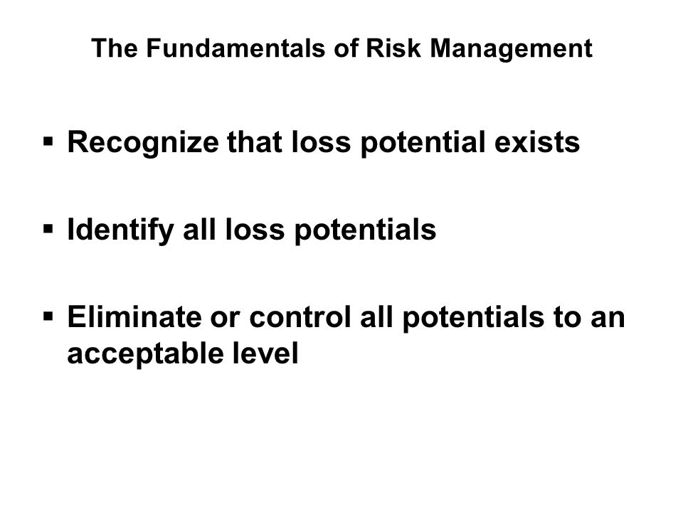 The Fundamentals of Risk Management