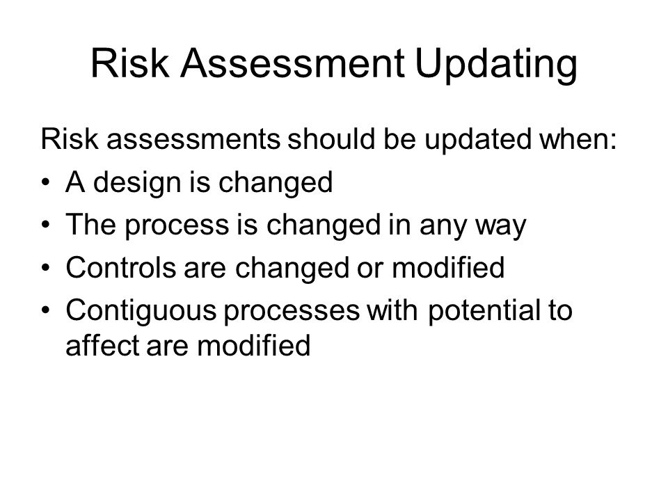 Risk Assessment Updating