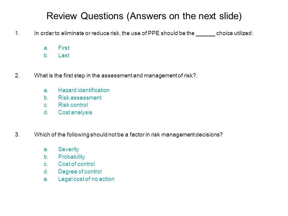 Review Questions (Answers on the next slide)