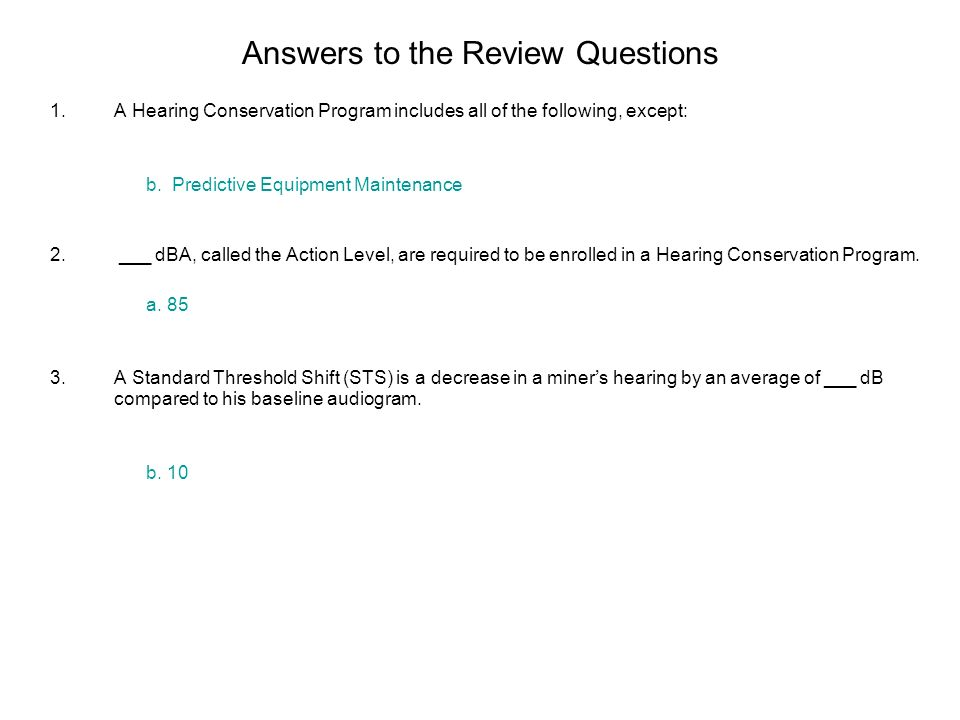 Answers to the Review Questions