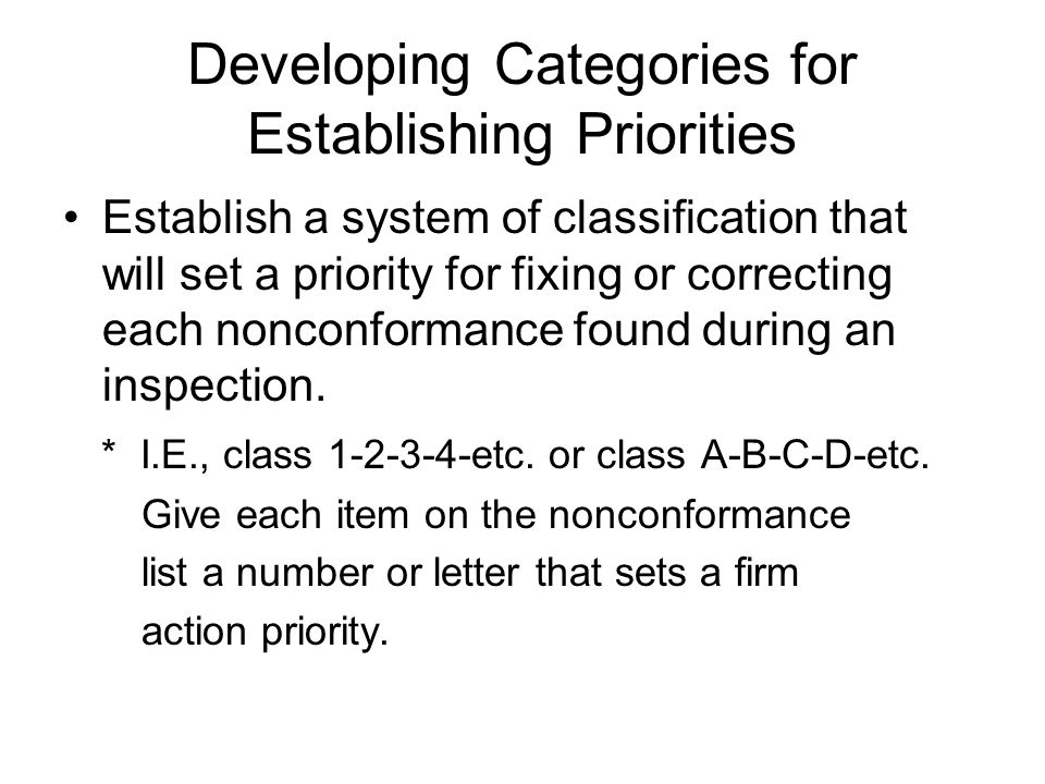 Developing Categories for Establishing Priorities