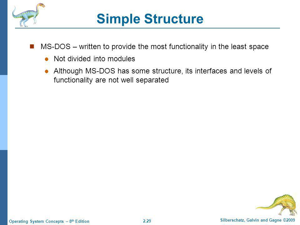 Simple Structure MS-DOS – written to provide the most functionality in the least space. Not divided into modules.
