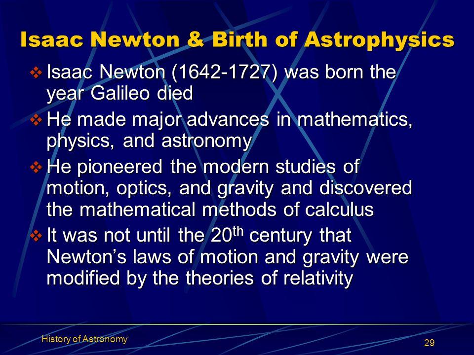 Isaac Newton & Birth of Astrophysics