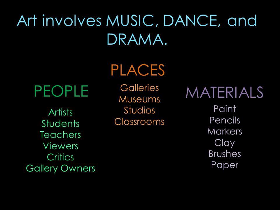 Art involves MUSIC, DANCE, and DRAMA.