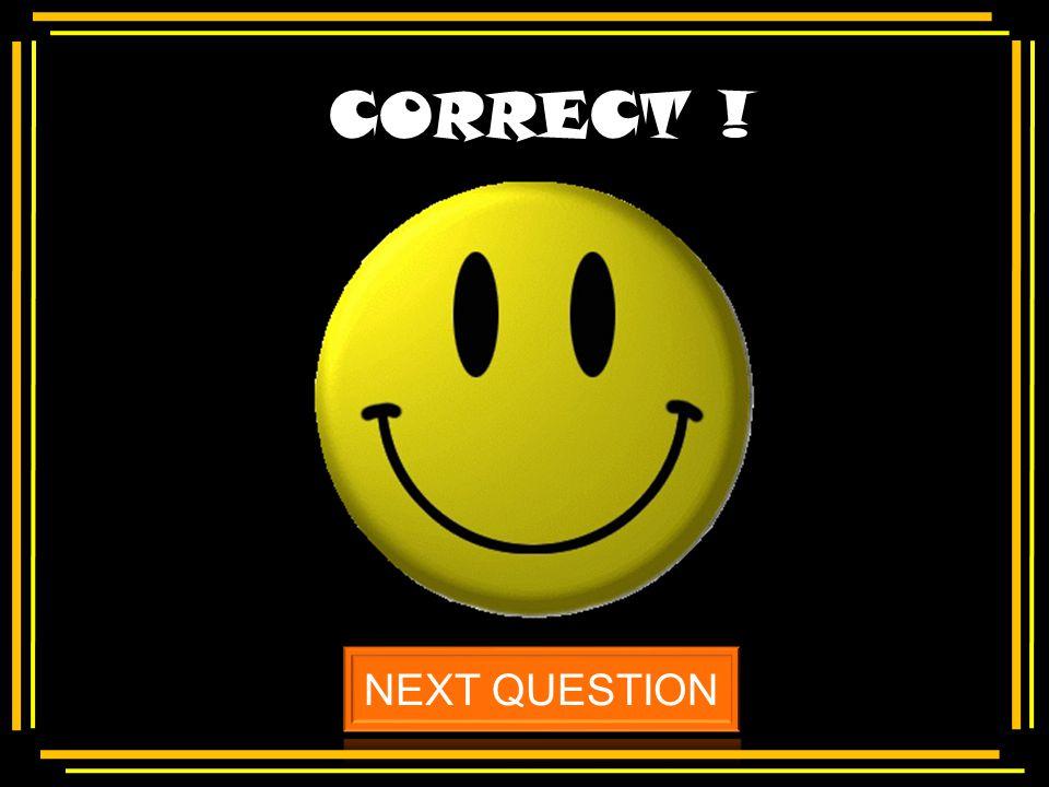 CORRECT ! NEXT QUESTION