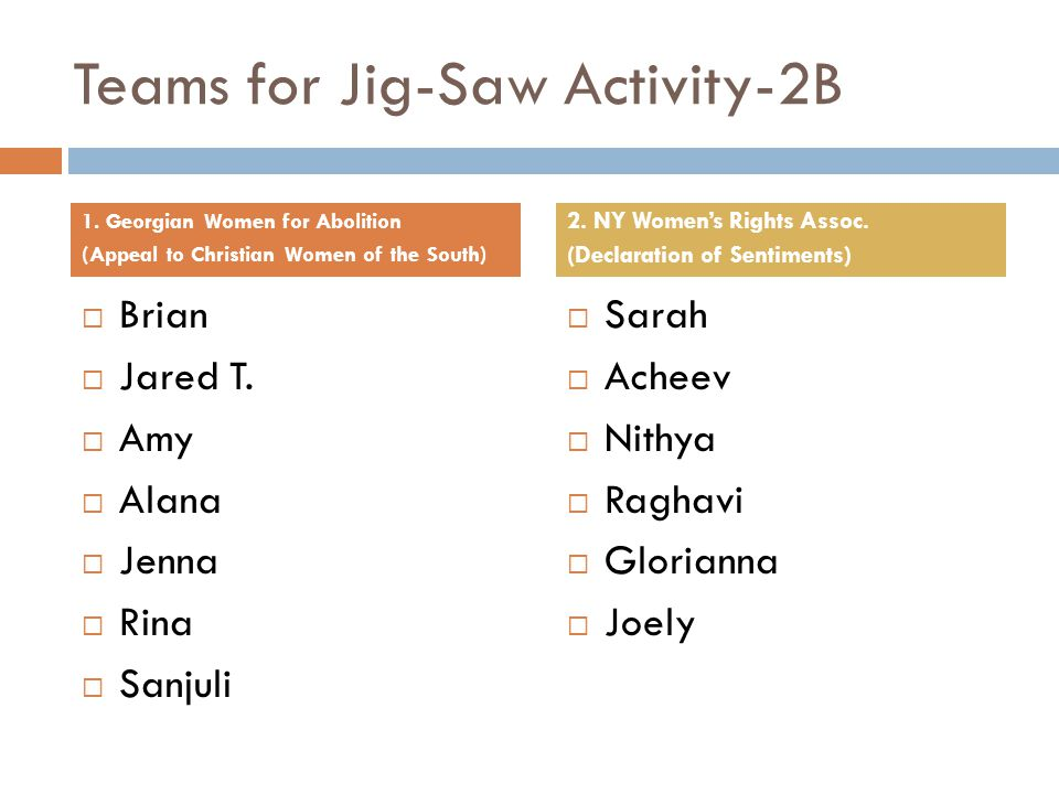 Teams for Jig-Saw Activity-2B