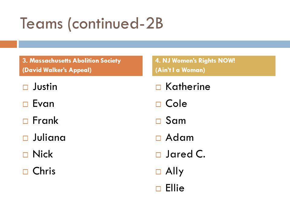 Teams (continued-2B Justin Evan Frank Juliana Nick Chris Katherine