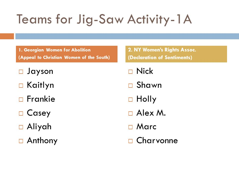 Teams for Jig-Saw Activity-1A