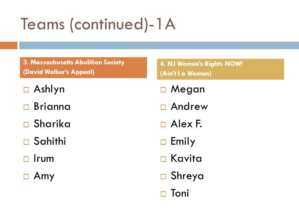 Teams (continued)-1A Ashlyn Brianna Sharika Sahithi Irum Amy Megan