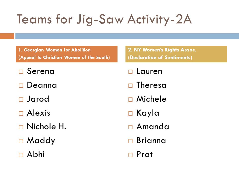 Teams for Jig-Saw Activity-2A