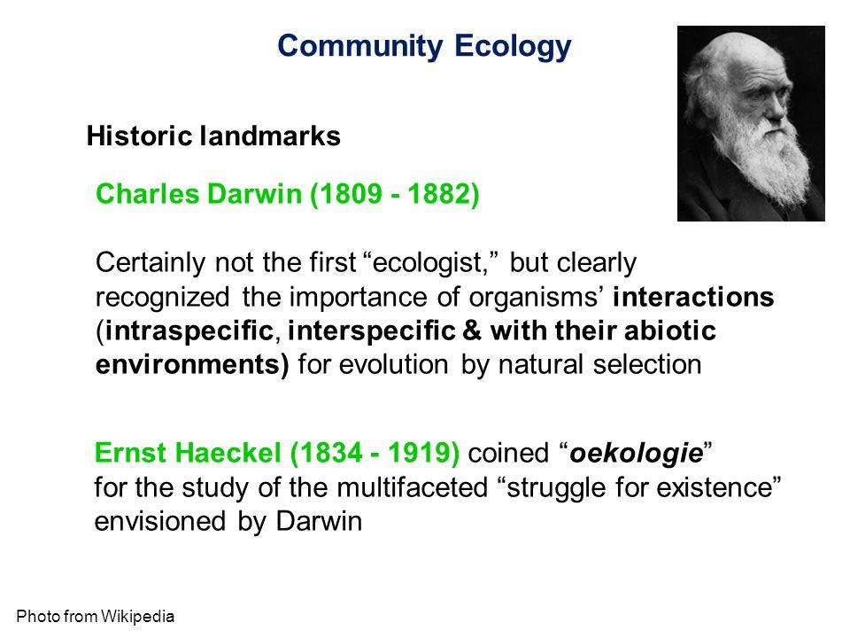 Community Ecology Historic landmarks Charles Darwin (1809 - 1882)