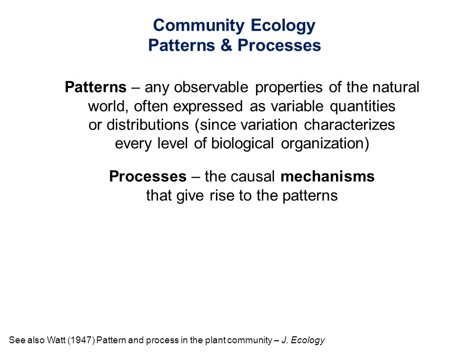 Community Ecology Patterns & Processes
