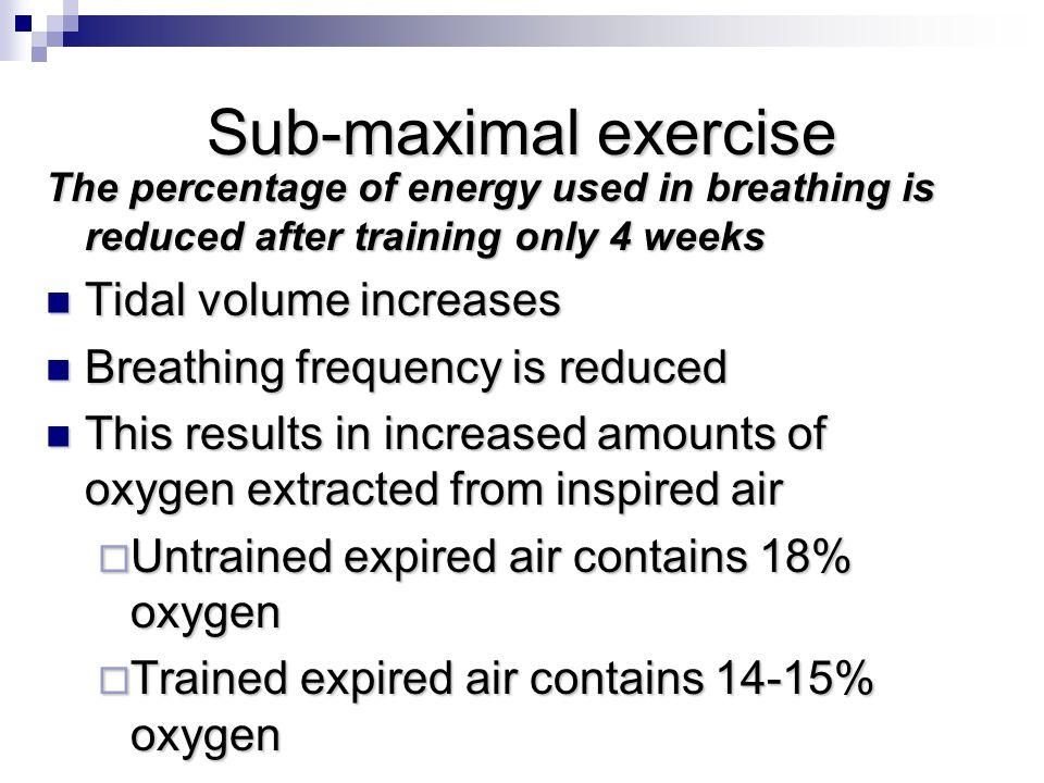Sub-maximal exercise Tidal volume increases
