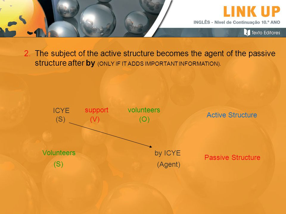 The subject of the active structure becomes the agent of the passive structure after by (ONLY IF IT ADDS IMPORTANT INFORMATION).