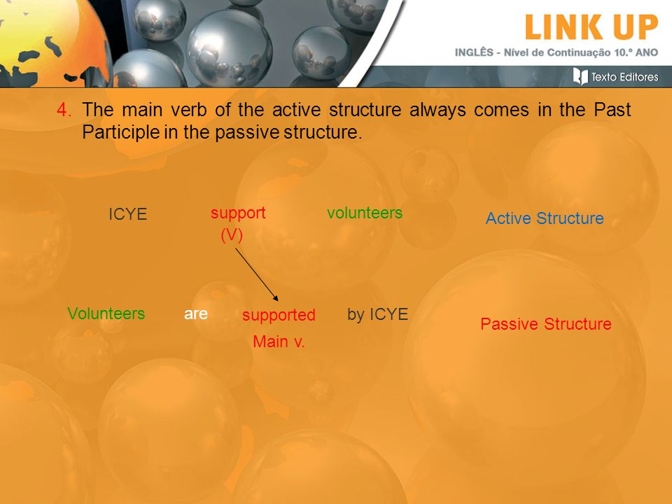 The main verb of the active structure always comes in the Past Participle in the passive structure.
