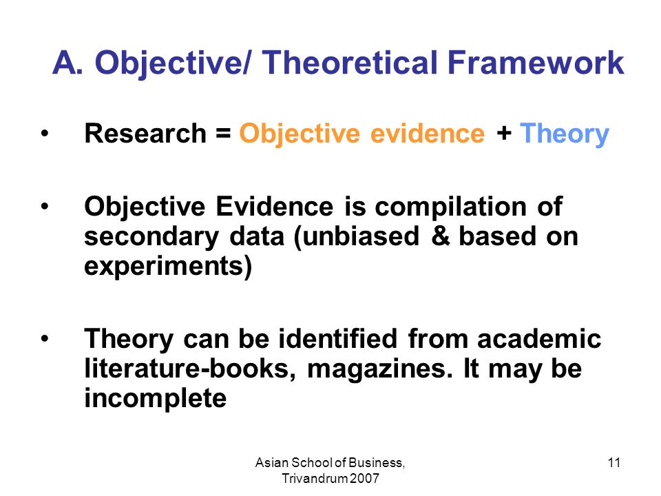 A. Objective/ Theoretical Framework