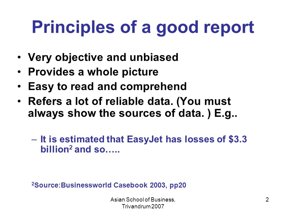 Principles of a good report
