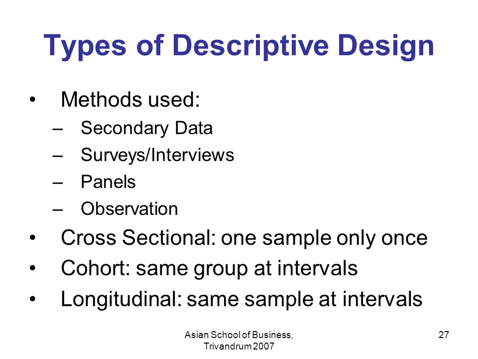 Types of Descriptive Design