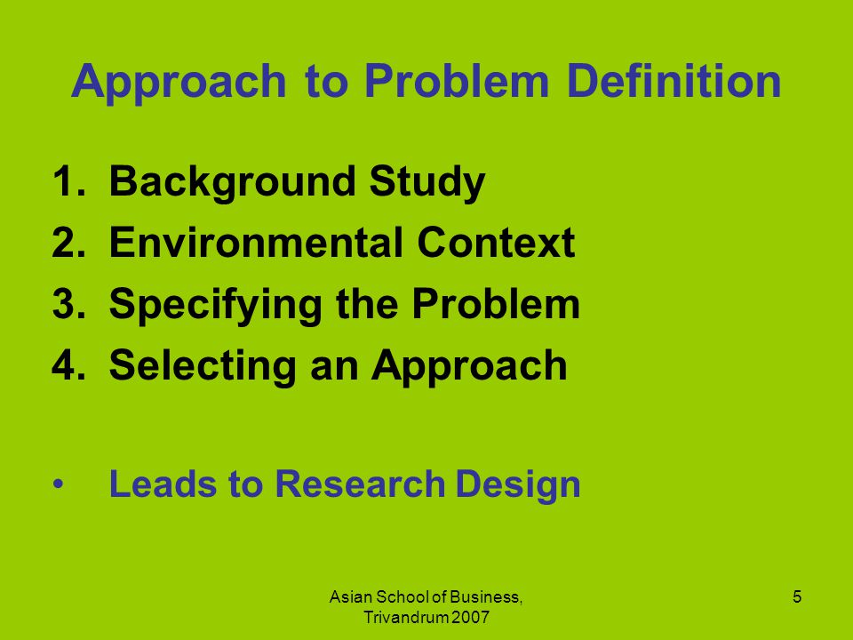 Approach to Problem Definition