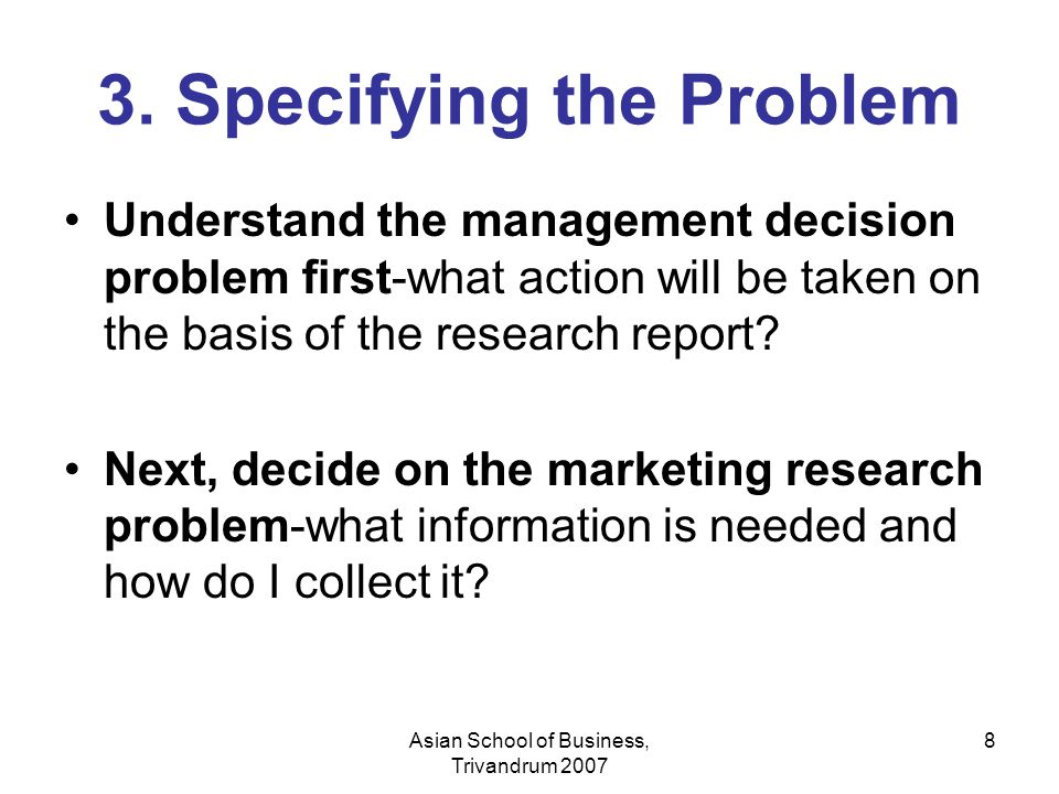 3. Specifying the Problem