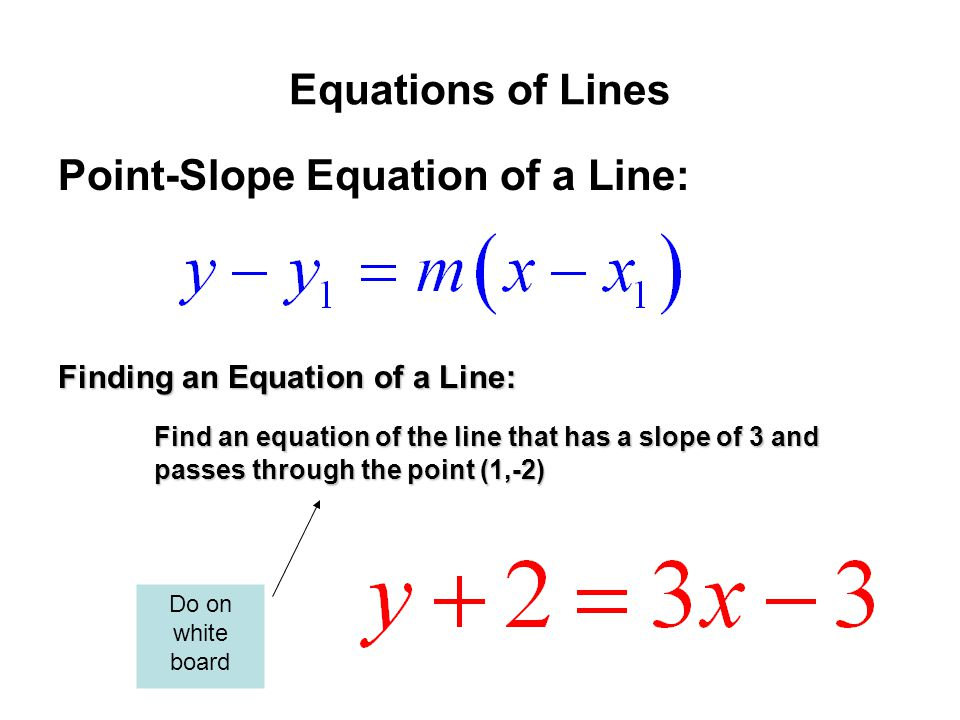 Point-Slope Equation of a Line: