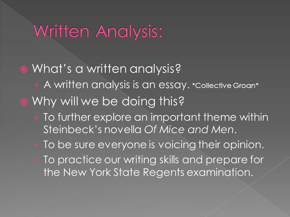 Written Analysis: What's a written analysis