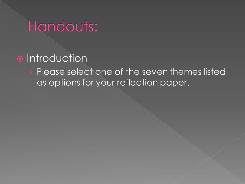 Handouts: Introduction