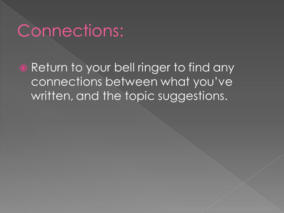 Connections: Return to your bell ringer to find any connections between what you've written, and the topic suggestions.