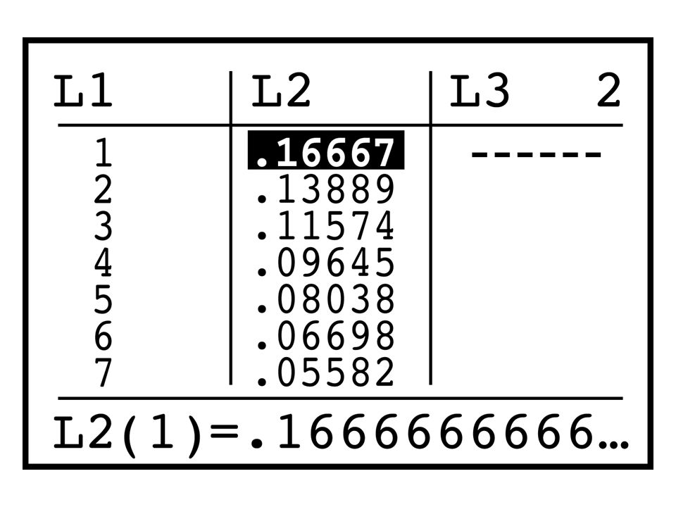 Enter the numbers 1 to 10 into list L1. Enter the probabilities into L2.