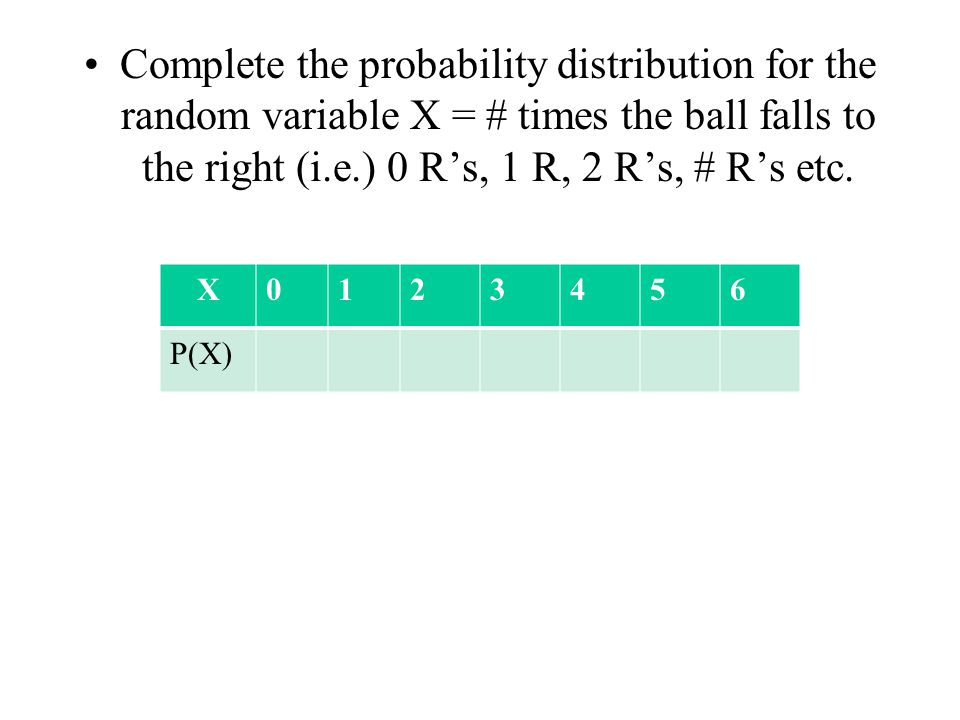 Complete the probability distribution for the random variable X = # times the ball falls to the right (i.e.) 0 R's, 1 R, 2 R's, # R's etc.