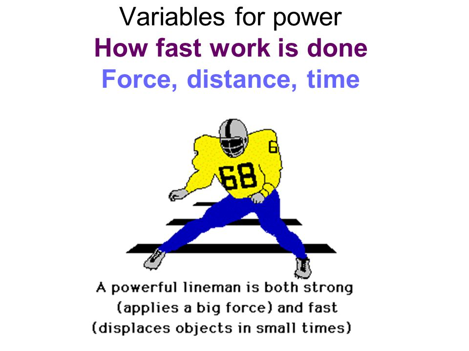 Variables for power How fast work is done Force, distance, time