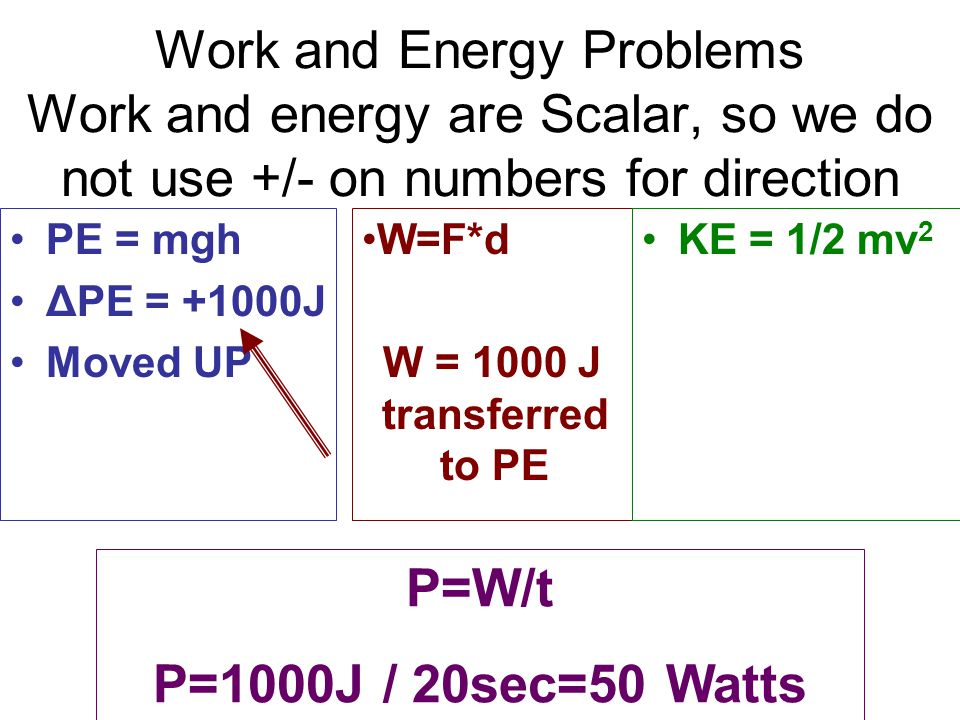 Work and Energy Problems Work and energy are Scalar, so we do not use +/- on numbers for direction
