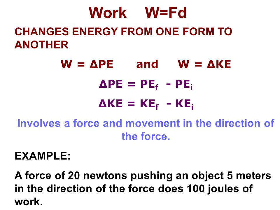 Involves a force and movement in the direction of the force.