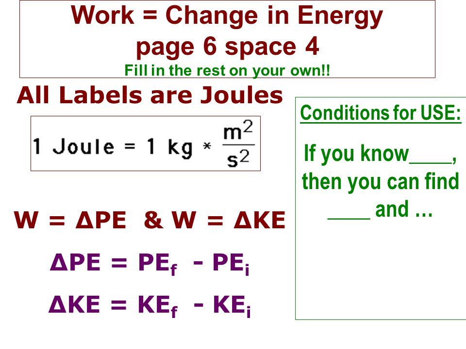 Work = Change in Energy page 6 space 4 Fill in the rest on your own!!
