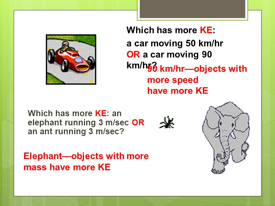 a car moving 50 km/hr OR a car moving 90 km/hr