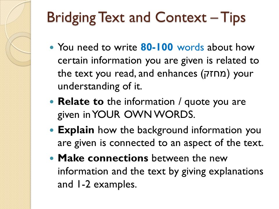 Bridging Text and Context – Tips
