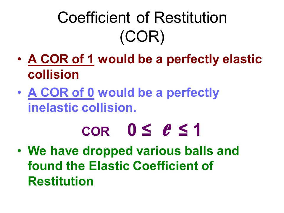 Coefficient of Restitution (COR)