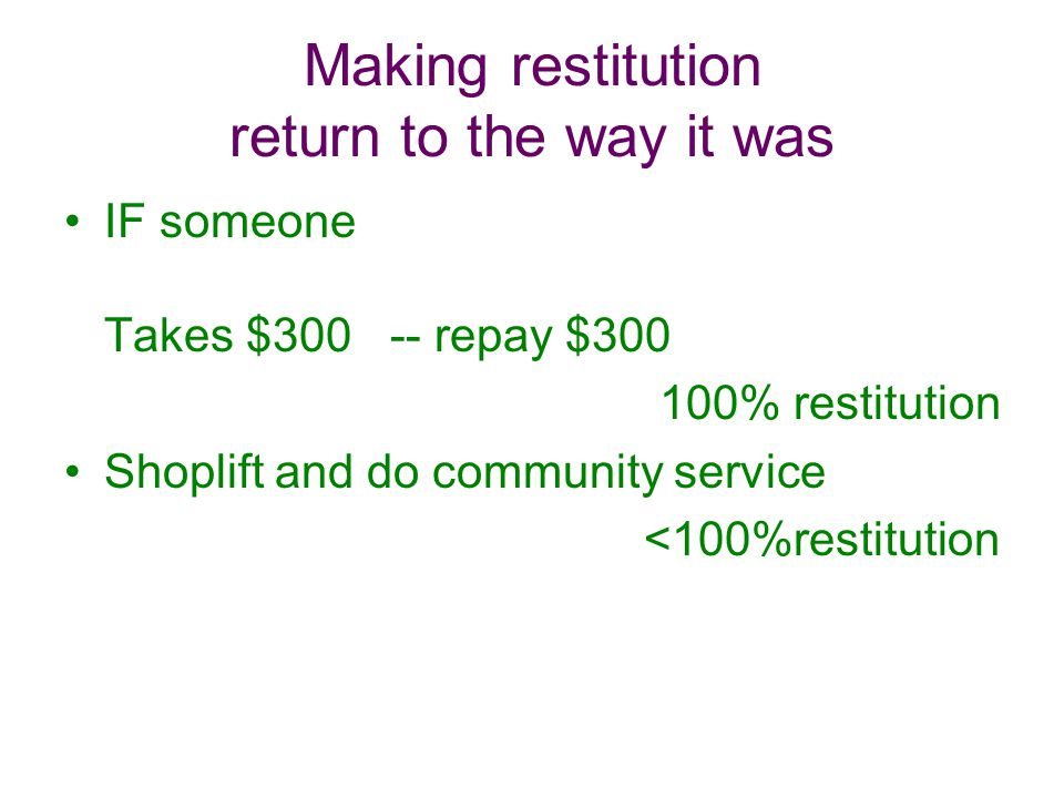 Making restitution return to the way it was